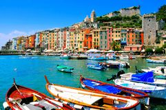 Colorful coastal village. Colorful harbor view at Portovenere, Italy with boats Stock Photos