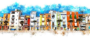 Colorful coastal village in Spain. Illustration of a colorful coastal village in Spain royalty free illustration