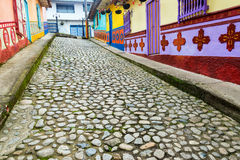 Colorful Cobblestone Street royalty free stock photography