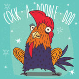 Colorful or rooster standing in a fright. Cartoon beautiful and colorful or rooster standing in a fright on blue background. a doodle doo lettering stock illustration