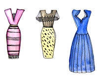 Colorful  cocktail dresses drawn by watercolor. Colorful party cocktail dresses for night celebration drawn by watercolor Royalty Free Stock Image