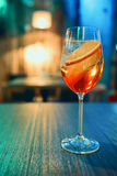 Colorful cocktail in glass with orange and lemon Royalty Free Stock Images