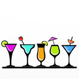 Colorful cocktail glasses Royalty Free Stock Photos