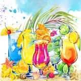Colorful cocktail. Hand drawn watercolor illustration of cocktail fruit and tropical leaves background Stock Photography