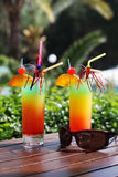 Colorful cocktail with ice and sunglasses Royalty Free Stock Photos