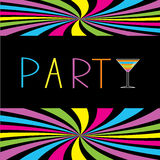 Colorful cocktail party card. Martini glass. Royalty Free Stock Photos