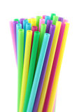 Colorful cocktail straws, on white background Royalty Free Stock Images