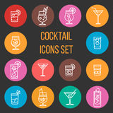 Colorful cocktail thin line vector icons set. Drink glass collection illustration Royalty Free Stock Photo