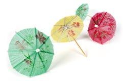 Colorful cocktail umbrellas white  Stock Image