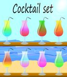 Colorful cocktail vector set with straws. Royalty Free Stock Image