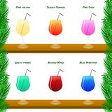 Colorful cocktail vector set with straws. stock illustration