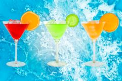 Colorful cocktails. With fresh water background royalty free stock images