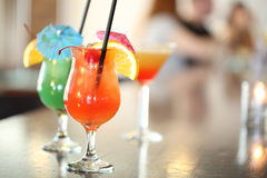 Colorful cocktails on the bar table in restaurant. Beverage stock photos