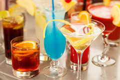 Colorful cocktails close up Stock Image