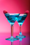 Colorful cocktails garnished with berries. Close up royalty free stock photos