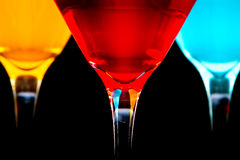 Colorful cocktails in glasses Royalty Free Stock Images