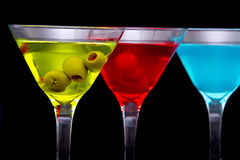 Colorful cocktails in glasses Royalty Free Stock Photo