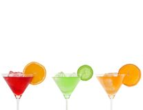 Colorful cocktails isolated on white Stock Images