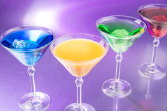 Colorful cocktails in nightclub royalty free stock photos