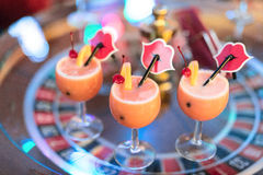 Colorful cocktails on the table. Table games lounge. Klaipeda, Lithuania. Royalty Free Stock Photos