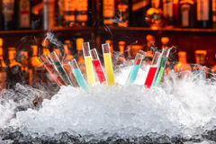 Colorful cocktails. In a test tube stock photos