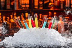 Colorful cocktails. In a test tube royalty free stock photography