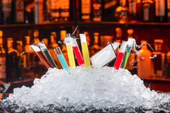Colorful cocktails. In a test tube stock image