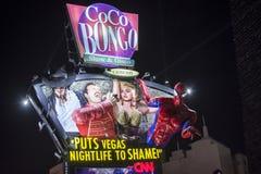 Colorful Coco Bongo billboard in Cancun Stock Photography