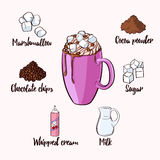 Colorful Cocoa Drink Recipe Royalty Free Stock Photography