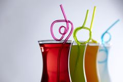 Colorful coctails with straw, summer Stock Photos