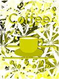 Colorful Coffee background with cup and flowers Royalty Free Stock Images