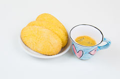 Colorful coffee cup with biscuits Stock Photo