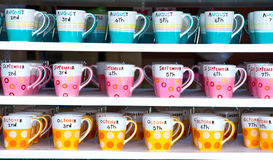 Colorful coffee cup. Colorful coffee cup on the floor ,blue, pink and orange stock photography