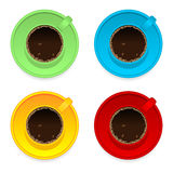 Colorful coffee cups. Isolated over white background stock illustration