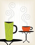 Colorful Coffee Cups. 2 Whimsical Coffee cup illustrations; very stylized. Easy-edit layered file stock illustration