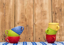 Colorful coffee cups Royalty Free Stock Photo