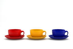 Colorful coffee cups on white background Royalty Free Stock Photography