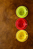 Colorful coffee cups Stock Photos