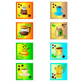Colorful coffee icon set on white Stock Images