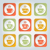 Colorful coffee icons. stock illustration