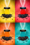 Colorful coffee mug collage Stock Photo