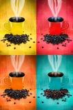 Colorful coffee mug collage Stock Photo
