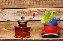 Colorful coffee mugs Royalty Free Stock Images