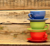 Colorful coffee mugs Stock Images