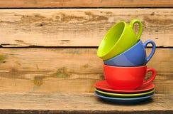 Colorful coffee mugs Royalty Free Stock Photos
