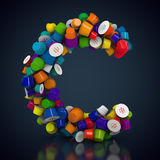 Colorful coffee pads. 3D rendering: Letter C made out of colorful coffee pads Royalty Free Stock Photo