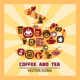 Colorful coffee and tea icons Royalty Free Stock Images