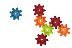 Colorful cogs toy. Background idea colorful play toy plastic cogs Stock Images