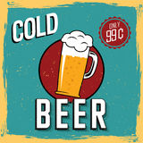 Colorful Cold Beer Poster. With one big glass and price only 99 cents vector illustration Royalty Free Stock Images