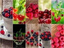 Colorful collage of different fruits and berries. For a food background. Photo of mixed various kinds of berries stock image